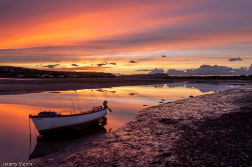 Dinghy at sunset, Newport (Pembrokeshire)